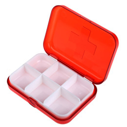 Wholesale Plastic Tablet Box - Free Shipping Portable 6 Cells Empty Pill Box Storage Case for Medicine Drug pill box case pillole plastic box for tablets order<$18no track