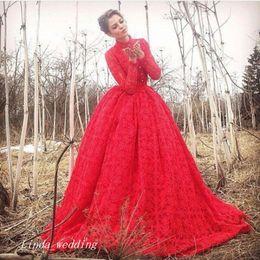 3e3a56d7408 2017 Long Sleeve Red Ball Gowns Evening Dress Lace Prom Dress Formal  Engagement Gown Plus Size robe de soire vestido de festa longo