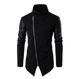 Wholesale Men S Spring Leather Coats - New Men Spring Sweatshirts Zipper Hoodies Leather Patchwork Slim Male Coat Men Black Hoodies Cool Street Clothing