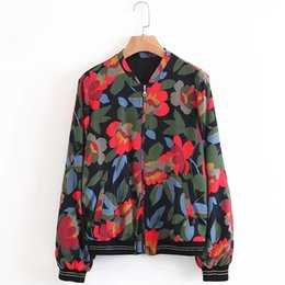Wholesale Western Coats Jackets - Western Style Autumn New Fashion Printing Women Jacket Loose Stand Collar Long Sleeve Zipper Floral Printed Female Coats