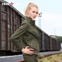 Wholesale Gs Jackets - Wholesale- Free Army Brand Ladies Jackets Women Bombers Autumn Casual Slim Thin Solid Outerwear Autumn Jacket Women's Clothing Gs-8228A