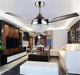 Wholesale Fan Control Light Switch - Changeable Light 18W Ceiling Fans Crystal Light Lamp with Remote Control 42-inch 220V 110V Modern Ceiling Fans Lights with Metal Blade