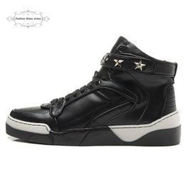 Wholesale Full Height - Size 36-46 Men & Women Black Genuine Leather With Gold Star Luxury Brand High Top Casual Shoes, Unisex New Fashion Full Season Sneakers