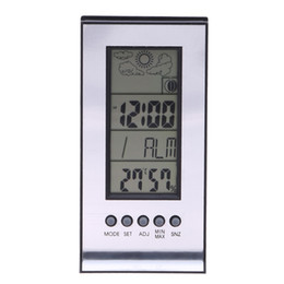 Wholesale Wireless Weather - Electronic Temperature Humidity Meter Alarm Clock Snooze Forecast Calendar Wireless Weather Station Indoor Outdoor