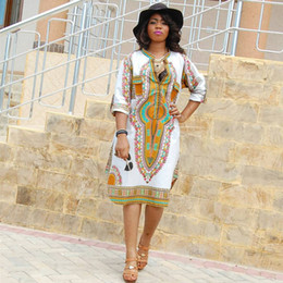 Wholesale Women Plus Size Dresses White - 3XL Plus Size Wholesale African Clothes Dashiki Dress for Women Casual Summer Hippie Print Dashiki Fabric Femme Boho Robe Femme