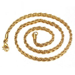 Wholesale Stainless Steel Twist Chain - Men's 316L Stainless Steel Twisted Necklaces,Wholesale Top Quality 22Inch Gold Silver Plated DIY Pendant Jewelry Accessories MY703