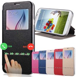 Wholesale S4 Smart Card Case - Smart Front Window View PU Leather Case For Samsung Galaxy S7 Edge S3 S4 S5 S6 J5 J7 PU Case Cover Leather Wallet For Iphone5 5S 6S 4S Cases