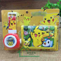 Wholesale Children Watch Sets - poke pikachu Watch Set Cartoon Children Wristwatch Watch Set purses(Watch +Wallet) for Christmas kids Gift