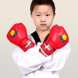 Wholesale Gloves Cartoon - Free Shipping Kids Cartoon Sparring Ki ck Fight Boxing Training Gloves Red Training For Age 5-12 Years Old Children