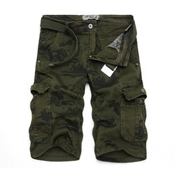 Wholesale Combat Cargo Shorts - Wholesale-2016 summer men shorts casual army cargo combat camo camouflage overall shorts size 29-38 BCL145