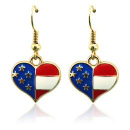 Wholesale Enamel Fashion Jewelry Earrings - Fashion Bohemian Charms Earrings Stainless Steel Hooks Dangle Enamel Heart Gold Color Earrings For Women Jewelry