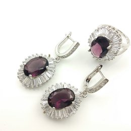Wholesale Purple Garnet Silver Earrings - Newest Purple Sky blue Garnet White Topaz Jewelry Sets Silver Earrings Rings Size 7 8 9 For Women Free Gift Box