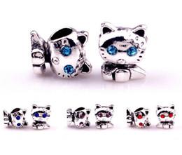 Wholesale Lovely Beads Bracelet - 2016! fashion accessories charm Silver plated Lovely cat Big Hole Loose Beads Pandora DIY Jewelry Bracelet European Beaded Bracelet Necklace