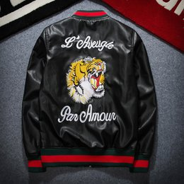 Wholesale Mens Leather Fashion Jackets - High Quality 2017 NEW Fashion Design Tiger Embroidery Unisex Bomber Jacket Mens PU Leather Motorcycle Pilot Jackets Free Shipping