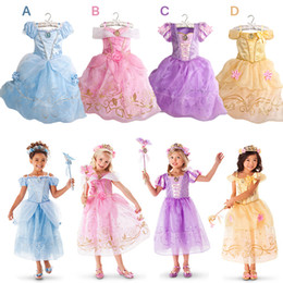 Wholesale Cotton Wedding Dresses Sleeves - New Girls Party Dresses Kids Summer Princess Dresses for Girls Cinderella Rapunzel Aurora Belle Cosplay Costume Wedding Dresses