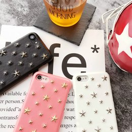 Wholesale Cell Phone Couples - For iphone7 7 plus case leather case waterproof case Shock-proof Dust-proof Star rivet case Couple cell phone case OPP package Fashion trend