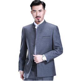 Профессиональные мужские костюмы онлайн-Wholesale- Men's suit collar Chinese tunic suit professional tai chi formal occasions two-piece single-breasted suit