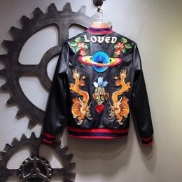 Wholesale Cheap Leather Jackets Free Shipping - Cheap Winter fashion embroidery Mens Motorcycle Leather Jacket up Short winter Coats For Men Black free shipping
