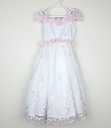 Wholesale Sz Custom Dresses - Girl's Flower Girl Dress White Pink Formal Dress Pageant dress Girls sz 1