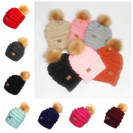 Wholesale Crochet Party Hat - 17 Colors CC Trendy Beanies Warm Knitted Cap Hats CC Fur Poms Beanie Crochet Christmas Outdoor Caps CCA8209 30pcs