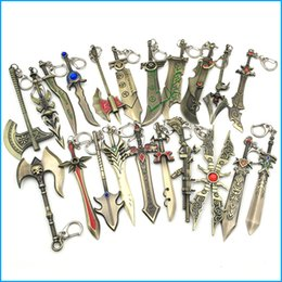 Leyendas lol de la liga llaveros online-League of Legends Game Weapon Llaveros, The Galen's Sword BladeMaster Llaveros, LOL Metal Llavero colgante para hombres