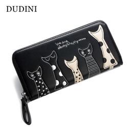 Wholesale Women Long Zipped Wallet - Europe Women Cat Cartoon Wallet Long Creative Female Card Holder Casual Zip Ladies Clutch PU Leather Coin Purse ID Holder