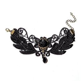 Wholesale Designs Flower Suits - Sexy Hollow Butterfly Design Black Lace Bracelet Retro Gothic Rose Love Gem Charm Bracelets Suit Fancy Dress Costume Party