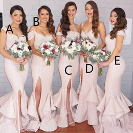 Wholesale Silver Mermaid Style Wedding Dresses - Sexy Side Split Bridesmaid Dresses 2016 Different Styles Blingbling Sequined Mermaid Evening Gowns for Wedding Party