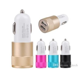 Wholesale Chinese Super Charger - New Hot Metal Aluminum Dual 2 USB Ports Super Fast Charging Car Charger Best In Car Adapter Universal 2.1Amp for Apple Iphone Samsung Galaxy