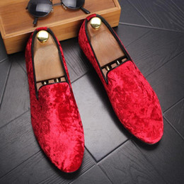 Wholesale Wedding Dresses Styles For Men - 2017 British Style Men's Suede leather shoes men's hair stylist pointed shoes Slip-on Red Black Dress Shoes for Men Party Wedding Prom