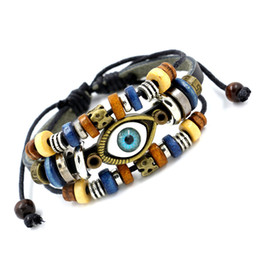 Wholesale Charms For Adjustable Bracelets - Fashion Hot Vivid Evil Eye Leather Bracelets Multilayer Handmade Beads Charm Bracelets Adjustable Friendship Bracelet For Men Women Jewelry