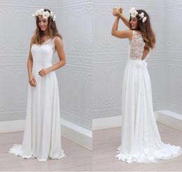 Wholesale Elegant Dresses Open Back - 2016 Summer Beach Bohemian Wedding Dresses Chiffon Lace V Neck Straps See Through Open Back Sweep Train Elegant Bridal Gowns Custom Dresses