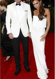 Wholesale Girdle Bow Bridegroom - White Jacket Black Pants Groom Tuxedos Best man Suit Satin Collar Groomsman Men Wedding Suits Bridegroom(Jacket+Pants+Bow+Girdle)