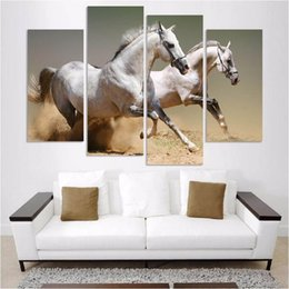 painting horses modern art Promo Codes - Running Horse 4 Pieces HD Print Animal Painting on Canvas Modern Fashion Wall Art Pictures Home Decoration