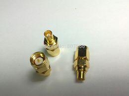 Wholesale Mcx Male Plug - 2 pcs Gold plated SMA Male Plug to MCX Female Jack RF Coaxial Adapter