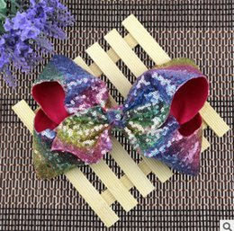 Wholesale Large Bows For Kids Hair - 7.5 Inches sequins hair BOWS without clips for kids girls children handmade large glitter felt rainbow sequins bows baby accessories R0449