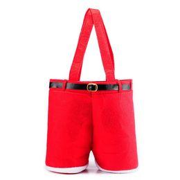 Bolsas de doces de calças de santa on-line-Merry Christmas Gift Treat Candy Bottle Bag Santa Claus Suspender Pants Trousers Decor Christmas Gift Bags IA876