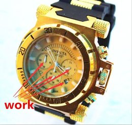 Wholesale Swiss Quartz Dial Watch - Swiss brand face 50mm INVICTA LOGO rotating dial outdoor sports Men's watch Luxury brand Multifunction quartz watch+Ordinary box