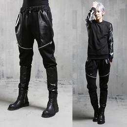 Wholesale Harem Pants Men Korean Fashion - Wholesale-2016 Metrosexual New Casual Pants For Man Korean Style Patchwork Leather Fashion Personality Hip Hop Harem Pants Male Trousers