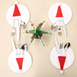Wholesale Mini Toy Hats - 2017 New Christmas Hat Silverware Holder Xmas Mini Red Santa Claus Cutlery Bag Party Decor Cute Gift Hat Tableware Holder Set WD427