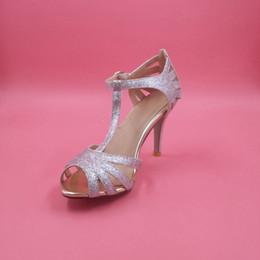 Canada Chaussure de mariage en paillettes dorées Chaussures de mariée en argent Semelle en cuir avec semelle en cuir Pompes confortables Toe 4