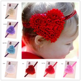 Wholesale Chiffon Flower Lace Hair Accessory - 8 pcs Shabby Chiffon Heart Flowers Glitter Headband Newborn Baby Hairbow Photo Prop Valentines Day Hair Accessories