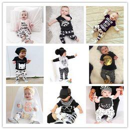 Wholesale Child Girl Suit Design - 20 Designs Ins Children Suits Kids T Shirts Pants Clothing Outfits Baby Girls & Boys Fashion Pure Cotton Fashion Shirts+Harem Pants Two Piec