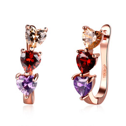 Wholesale Earring Three Color - New products listed women's jewelry fashion three color crystal heart rose gold earrings free shipping