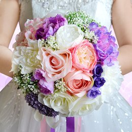 Wholesale Beach Pink Bouquet - Gorgeous Wedding Flowers Bridal Bouquets WF050 Pink+Purple Silk flowers Bridal Flowers For Beach Garden Wedding Hot Sale