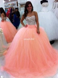 Wholesale Sweetheart Strapless Ruffle Prom Dress - 2017 Sparkly Beading Crystals Quinceanera Dresses Strapless Sleeveless Bodice Tulle Corset Back Ball Gown Prom Dresses For 15 Years Vestidos