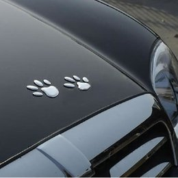 Wholesale Cheap Doors Windows - 3D Dog paw Car Window Decal Sticker Auto decals with soft pvc silver Cool cheap car decals