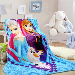 Wholesale Wholesale Princess Beds - New Arrival Winter Flannel Blankets Frozen Princess Print 150*200cm Fit for Bed Sofa High Quality Warm Plain Kids and Adult