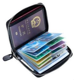 Billetero pasaporte billetera online-2019 nuevo Travel Wallet Pasaporte cubierta RFID bloqueo pasaporte titular de cuero genuino titular de la tarjeta de crédito boleto envío gratis