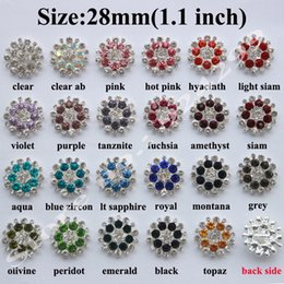 Wholesale 28mm Buttons - Free Shipping Wholesale 48pcs lot 28mm Flatback Rhinestone Button Pearl Button For Hair Flower Wedding Embellishment LSRB05018-3